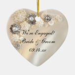 White Pearl and Diamond Buttons Engagement Ceramic Heart Decoration