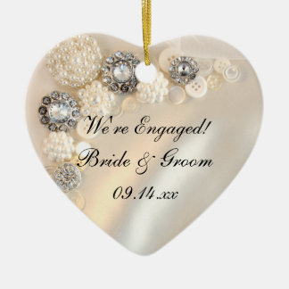 White Pearl and Diamond Buttons Engagement Christmas Ornament