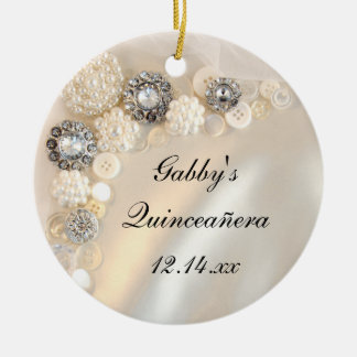 White Pearl and Diamond Buttons Quinceañera Christmas Ornament