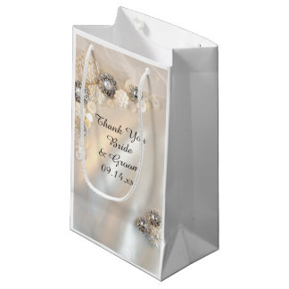 White Pearl and Diamond Buttons Wedding Thank You Small Gift Bag