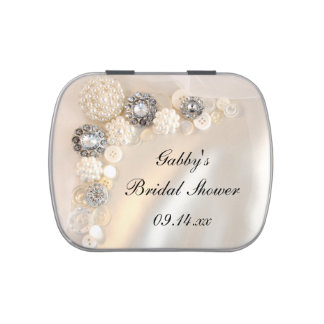 White Pearl Diamond Buttons Bridal Shower Favor Candy Tins