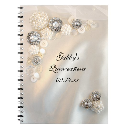 White Pearl Diamond Buttons Quinceañera Guest Book Spiral