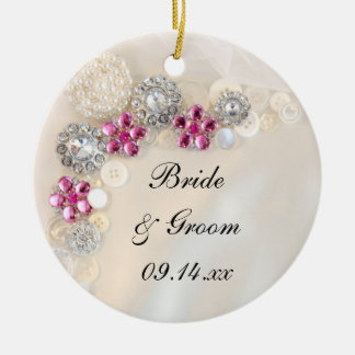 White Pearls and Pink Diamond Buttons Wedding Christmas Ornament