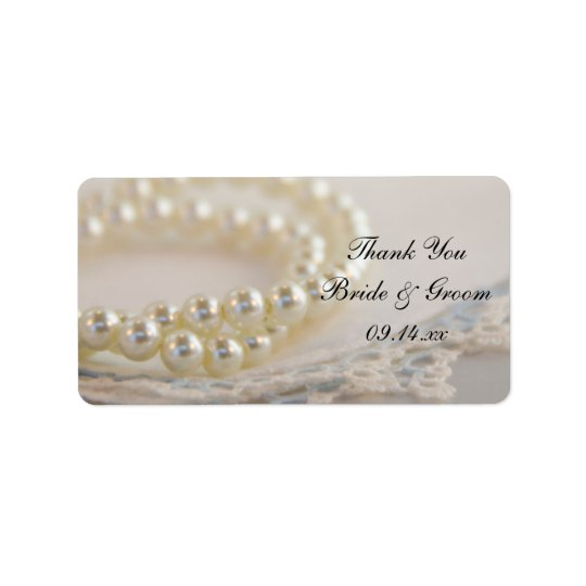 White Pearls Blue Lace Wedding Thank You Favour Label