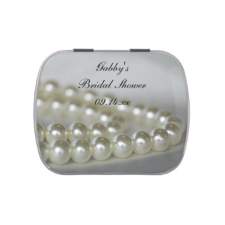 White Pearls Bridal Shower Favor Jelly Belly Tin