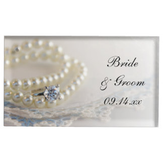 White Pearls, Diamond Ring and Blue Lace Wedding Table Card Holder