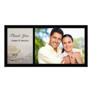 White Pearls, Ring and Blue Lace Wedding Thank You Photo Cards
