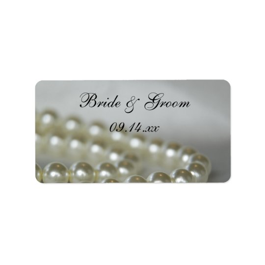 White Pearls Wedding Favour Tags Address Label