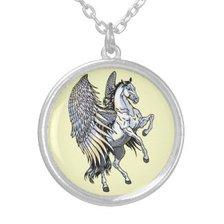 white pegasus silver plated necklace