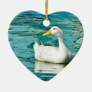 White Pekin Duck  - Nature Photo in Reflections Ceramic Heart Decoration