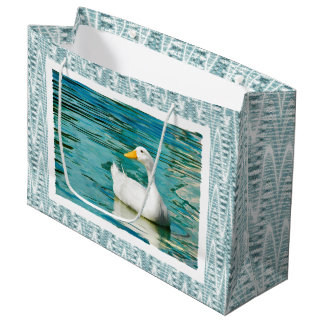 White Pekin Duck  - Nature Photo in Reflections Large Gift Bag