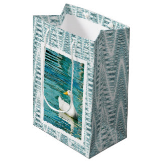 White Pekin Duck  - Nature Photo in Reflections Medium Gift Bag