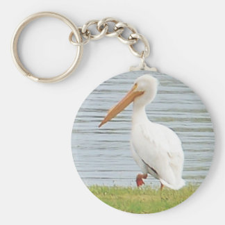 white pelican along shoreline basic round button key ring