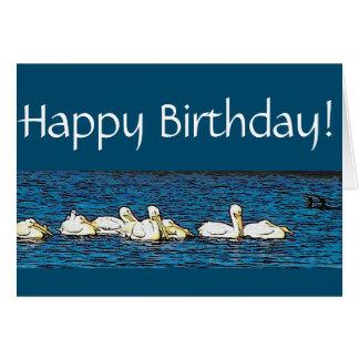 White Pelican Birds Wildlife Animal Beach Birthday Card