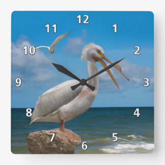 White Pelican on a Rock Square Wall Clock