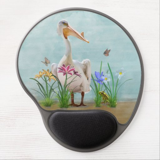 White Pelican with Flowers and Butterflies Gel Mouse Mats