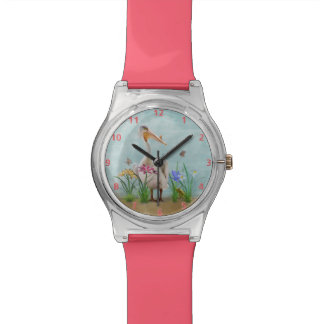 White Pelican with Flowers and Butterflies Wristwatch