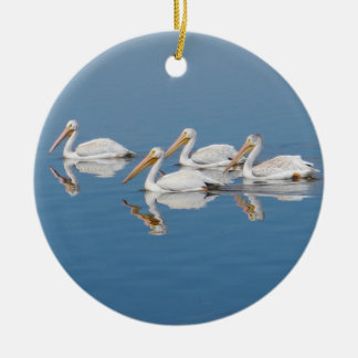White Pelicans on Barr Lake Christmas Ornament