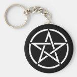 White Pentagram on Black Key Chain