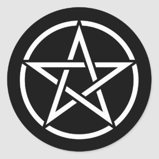 White Pentagram on Black Round Sticker
