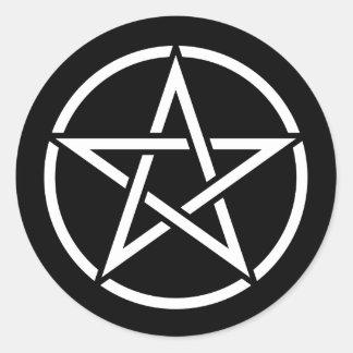 White Pentagram on Black Classic Round Sticker