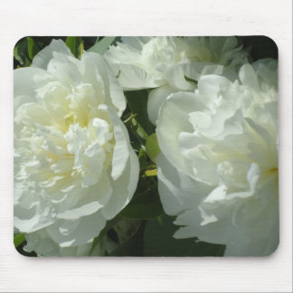 White Peonies Mouse Pad