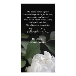 White Peony -1- Memorial Sympathy Thank You Photo Greeting Card