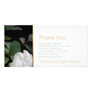 White Peony -2- Memorial Sympathy Thank You Personalised Photo Card