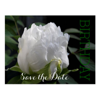 White Peony 30th Birthday Save the Date Postcard