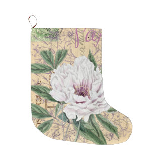 White Peony French Calligraphy Large Christmas Stocking