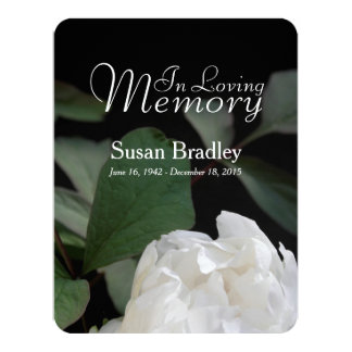 White Peony Memorial Funeral Announcement
