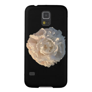 White Peony on a black background Galaxy S5 Cases