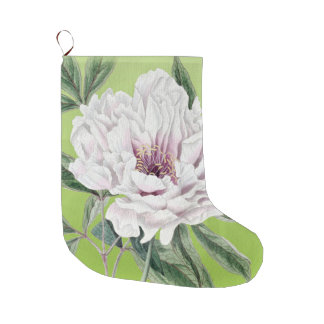 White Peony On Lime Green Large Christmas Stocking