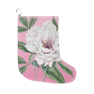 White Peony On Pink Large Christmas Stocking