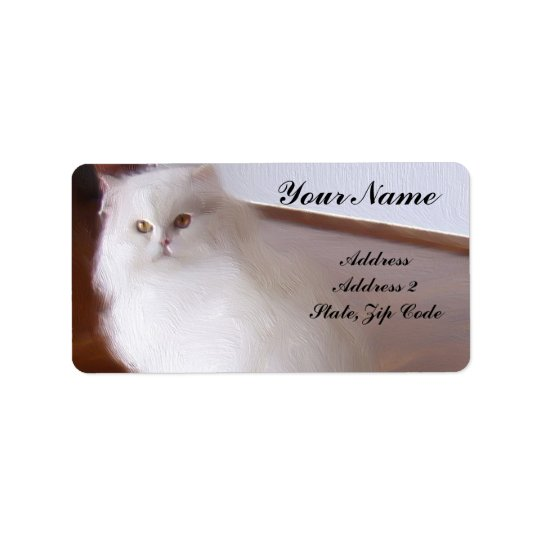 White Persian Cat Address Labels