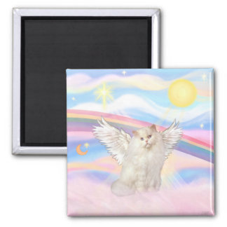 White Persian Cat Angel in Clouds Square Magnet
