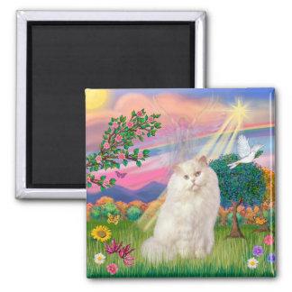 White Persian Cat - Cloud Angel Square Magnet