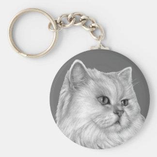 White Persian Cat Key Ring