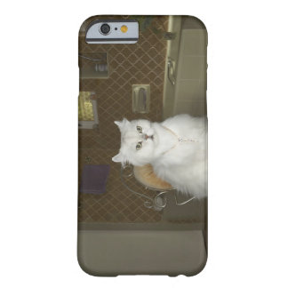 White persian cat sitting on chair in bathroom barely there iPhone 6 case
