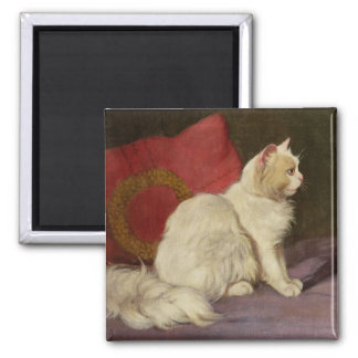 White Persian Cat Square Magnet