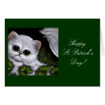 WHITE PERSIAN CAT - ST. PATRICK'S DAY Card