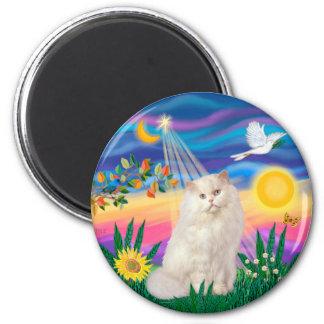 White Persian Cat - Twlight Fridge Magnet