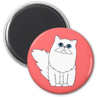 White Persian Cat w/ Blue Eyes 6 Cm Round Magnet