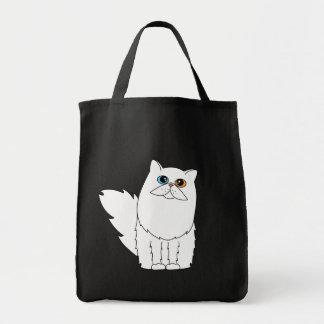White Persian Cat w/ Odd Eyes Black Tote Bag