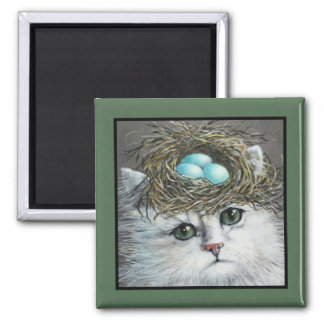 White Persian Cat With A Robin's Nest Square Magnet