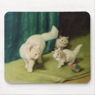 White Persian Cat with Two Kittens Mouse Pad