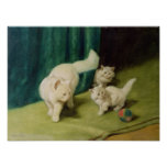 White Persian Cat with Two Kittens Poster