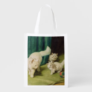 White Persian Cat with Two Kittens Reusable Grocery Bag