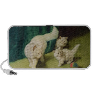 White Persian Cat with Two Kittens Notebook Speaker