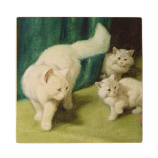 White Persian Cat with Two Kittens Wood Coaster